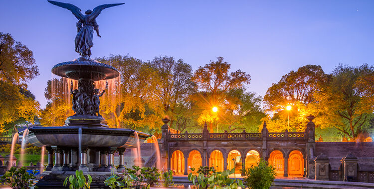 New York, New York, USA at Bethesda Terrace in Central Park.